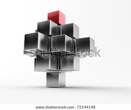3d maded metal cubes on a white background