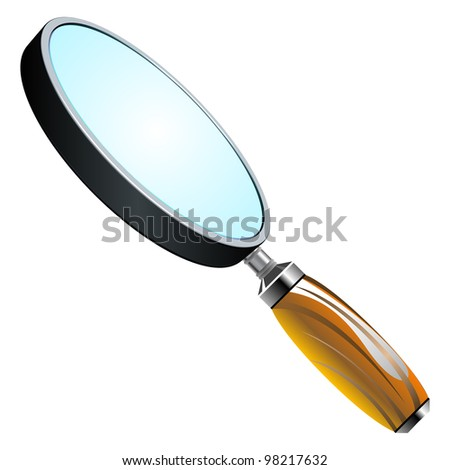 3d magnifying glass against white background, abstract art illustration