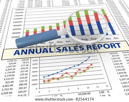 3d magnifying glass focus on annual sales report