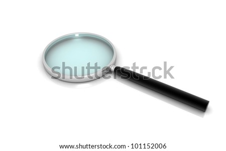 3D Magnifying glass isolated on white