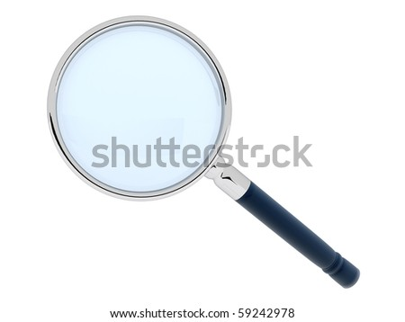 3D magnifying glass - isolated over a white background - stock photo