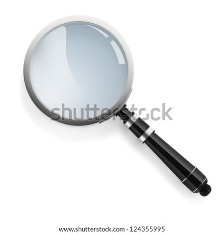 3d magnifying glass on white background