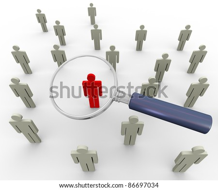 3d magnifying glass searching people. Concept of searching people or employee