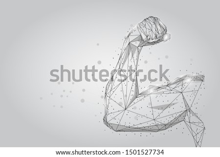 3D male hand muscles connected dots low poly wireframe. Polygonal physical strength, bodybuilder, athlete body mesh art illustration. Human power