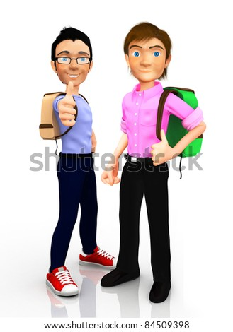 3D Male students with thumbs up - isolated over a white background