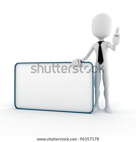 3d man and a big blank placard