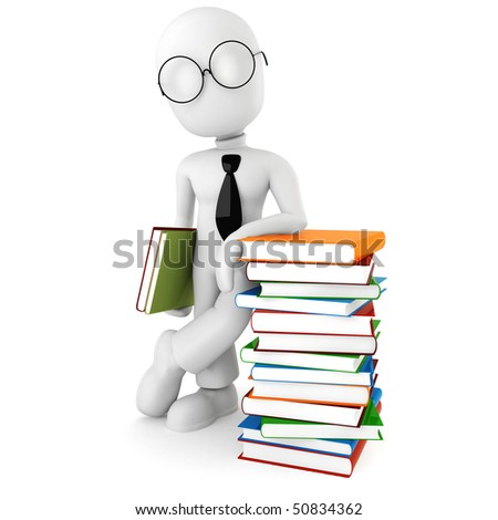 3d man and colorful books