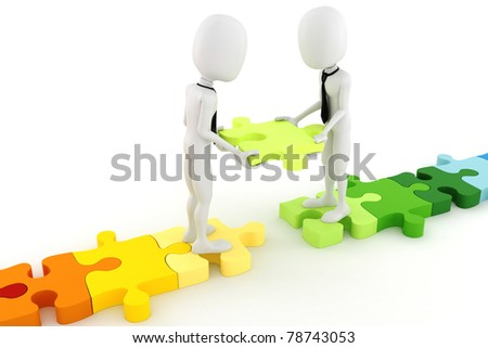 3d man and colorful puzzle pieces