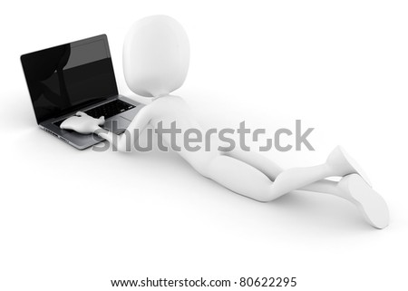3d man and laptop isolated on white background
