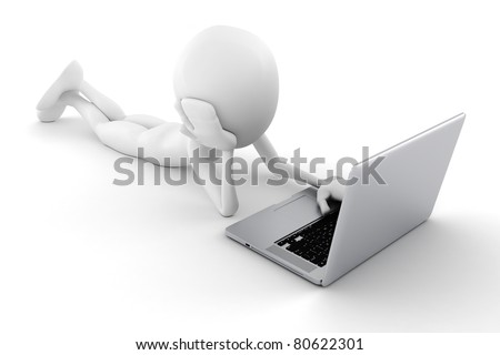 3d man and laptop isolated on white background - stock photo