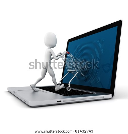 3d man and laptop online shopping , on white background