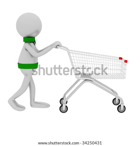 3D man and shop cart isolated on white.