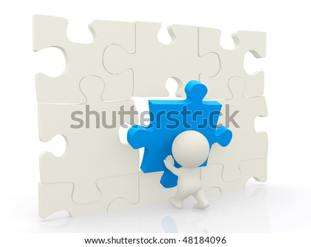 3D man assembling puzzle isolated over white
