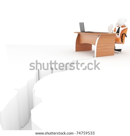3d man at desk with earthquake crack isolated on white