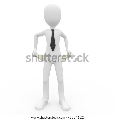 3d man broke businessman isolated on white