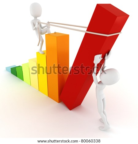 3d man building a new business graph, on white background - stock photo