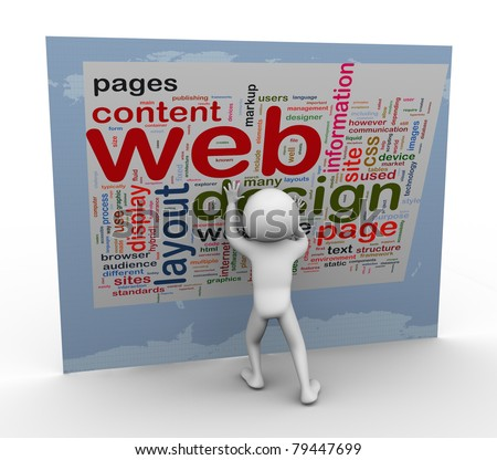 3d man building web design. Words related to web designing.