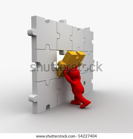 3D man builds puzzle - the final piece