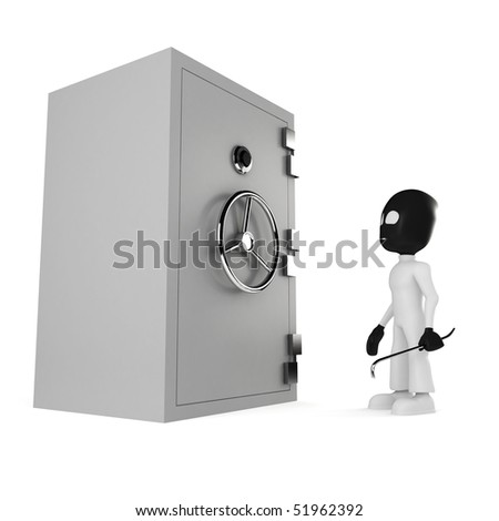 3d man burglar, isolated on white