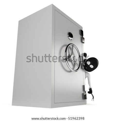 3d man burglar, isolated on white
