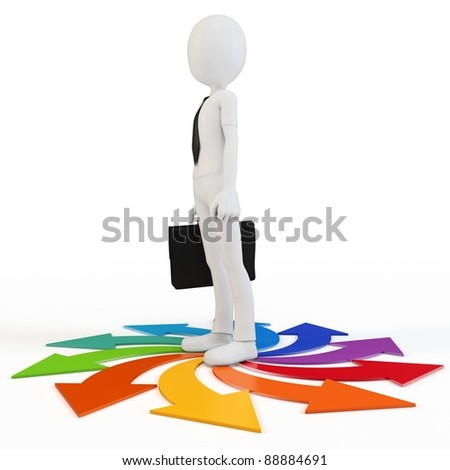 3d man business man choosing a path on white background