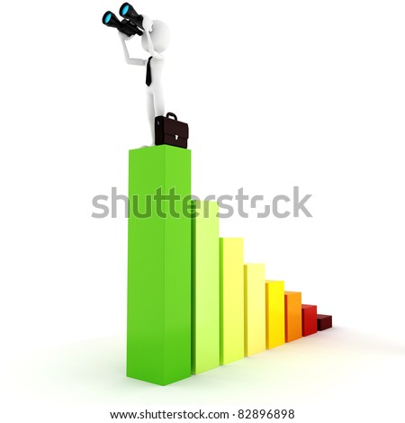 3d man business man holding a binocular searching for opportunities - stock photo