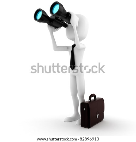 3d man business man holding a binocular searching for opportunities