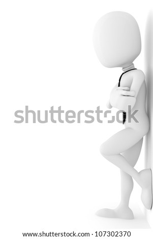 3d man business man leaning up against the wall