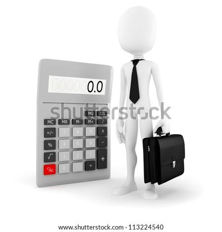 3d man business man standing near a big calculator over white background