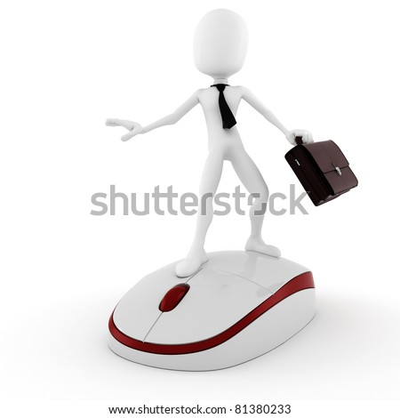 3d man business-man surfing the web
