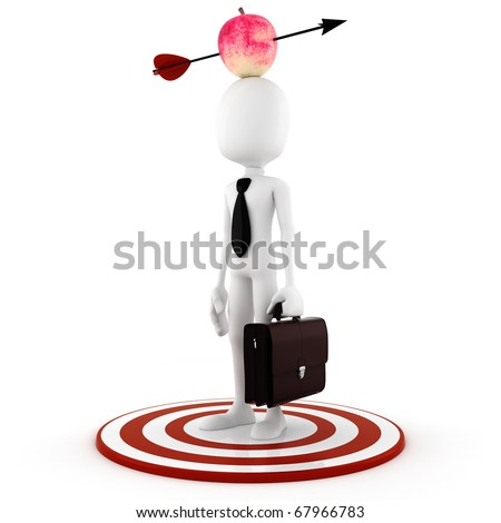 3d man - business man  with an apple on he's head