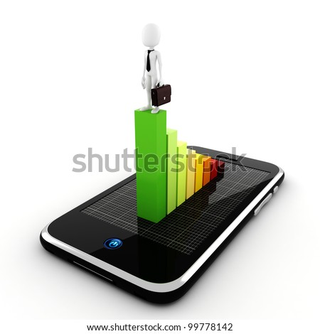 3d man, business on the move concept - stock photo