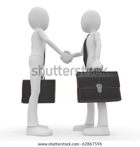 3d man business shaking hands isolated on white