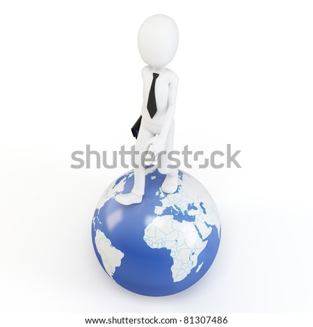 3d man business walking on earth globe isolated on white