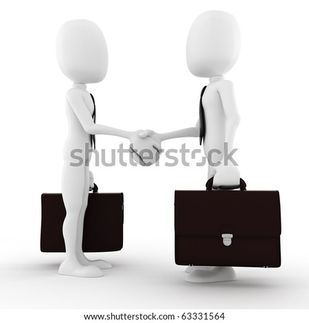 3d man businessman closing a deal