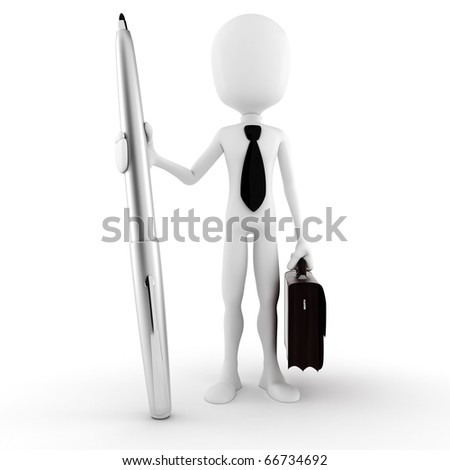 3d man businessman holding a pencil, isolated on white