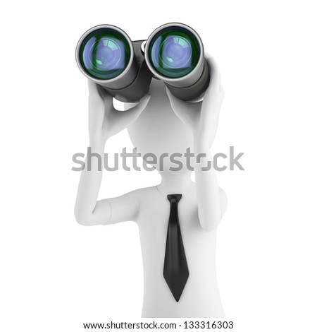 3d man businessman holding binoculars looking for opportunities on white background