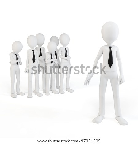 3d man businessman leader with his team on white background