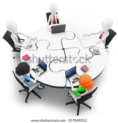 3d man businessman meeting at a round table made of puzzle