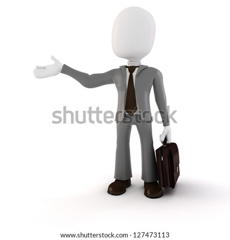 3d man businessman on white background