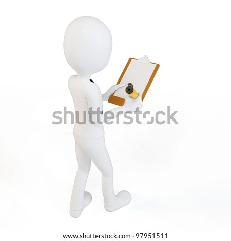 3d man businessman with clipboard and pen on white background