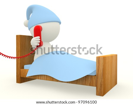 3D man calling from a telephone from bed  - isolated over white background - stock photo