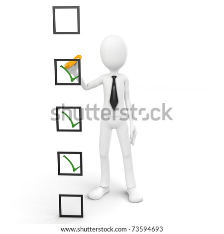 3d man checking a list isolated on white