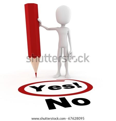 3d man choosing between yes and no