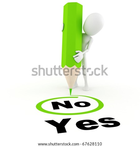 3d man choosing between yes and no