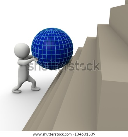 3d man climbing on white isolated background