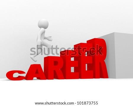 3d man climbs the ladder of career - 3d render