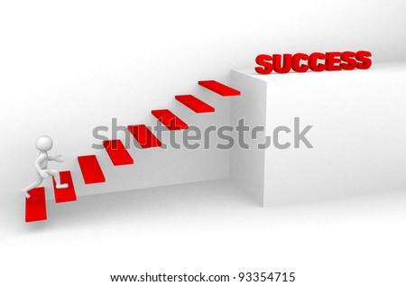 3d man climbs the ladder of success - 3d render