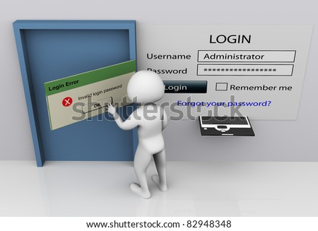 3d man closing invalid login error messagebox after entering wrong password