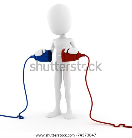 3d man conecting two cables